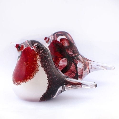 Memorial Glass Robin with ashes