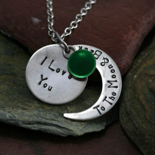 Ashes Jewellery-Moon and back pendant - May Emerald
