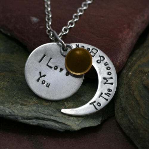 Ashes Jewellery-Moon and back pendant - Nov Topaz