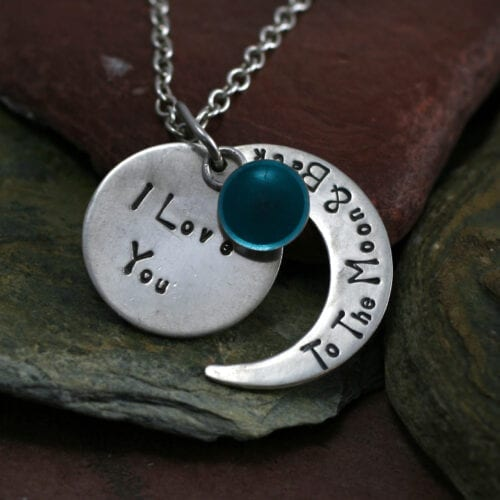 Ashes Jewellery-Moon and back pendant - Dec Turquoise