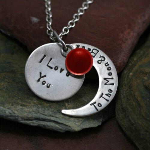 Ashes Jewellery-Moon and back pendant - Jan Garnet