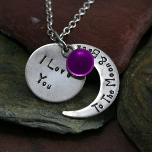 Ashes Jewellery-Moon and back pendant - Feb Amethyst