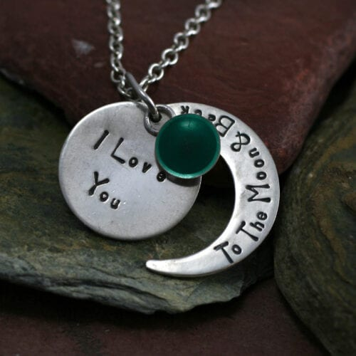 Ashes Jewellery-Moon and back pendant - March Aqua