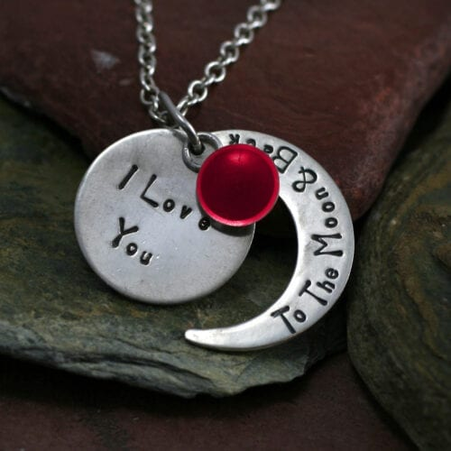 Ashes Jewellery-Moon and back pendant - July Ruby
