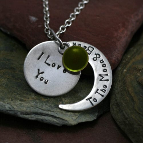 Ashes Jewellery-Moon and back pendant - Aug Peridot