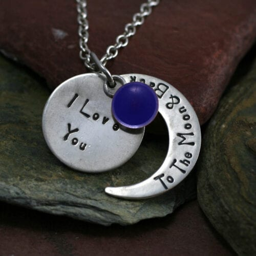 Ashes Jewellery-Moon and back pendant - Sept Sapphire