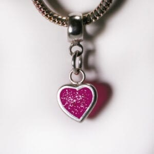 Ashes Jewellery-Heart Charm Birthstone - Pink Diamond April