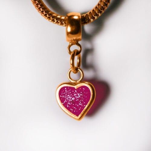 Birthstone Heart Charm - Pink Diamond - April Gold